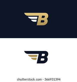 Letter B logo template. Wings design element vector illustration. Corporate branding identity