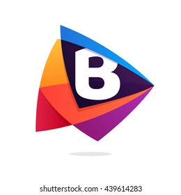 Letter B logo in triangle intersection icon. Multicolor vector letters for app icon, corporate identity, card, labels or posters.