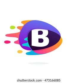 Letter B logo in triangle intersection icon with fast speed lines. Multicolor vector for application, presentation, web page, business card or posters.