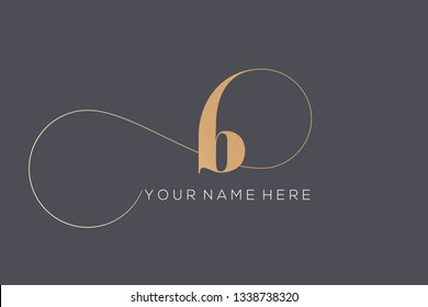 Letter B logo.Typographic icon in golden color isolated on dark background.Serif lowercase lettering.Initial character with decorative swirl.Luxury style sign.
