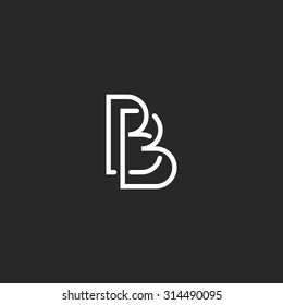 Letter B monogram logo, intersection thin line design overlap outline, black and white style business card BB emblem mockup