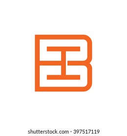 letter B and I monogram square shape logo orange