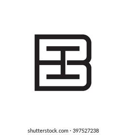 letter B and I monogram square shape logo black