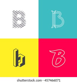 "Letter ""B' monograms set. Trendy logo design. Eps10 vector illustration."