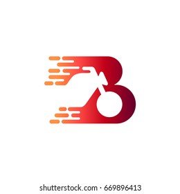 Letter B With Motorcycle Initial Logo Template