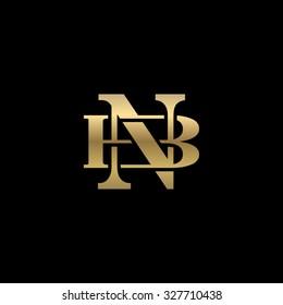 letter B and N monogram golden logo