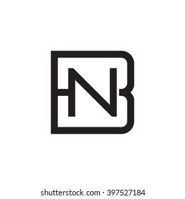 letter B and N monogram square shape logo black