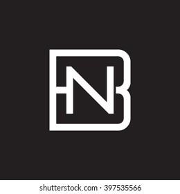 letter B and N monogram square shape logo white black background