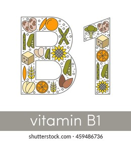 Letter B and number 1 symbolizing vitamin B1 concept