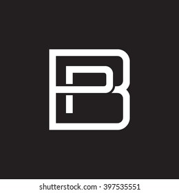 letter B and P monogram square shape logo white black background