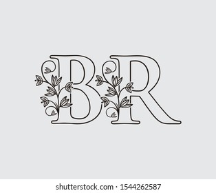 Letter B, R and BR Vintage Floral Logo Icon, overlapping monogram with hand drawn flower. Black color Logo on white background. Classy Letter Logo Icon.