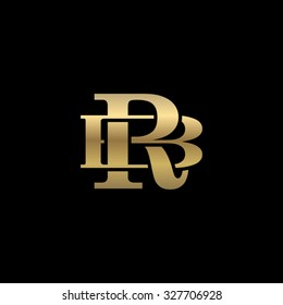 letter B and R monogram golden logo