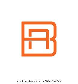 letter B and R monogram square shape logo orange