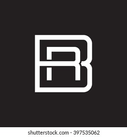 letter B and R monogram square shape logo white black background