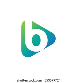 letter b rounded triangle shape icon logo blue green