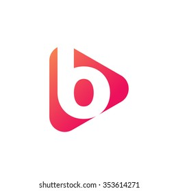 letter b rounded triangle shape icon logo orange red