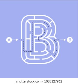 Letter B shape Maze Labyrinth, maze with one way to entrance and one way to exit. Flat design, vector illustration.