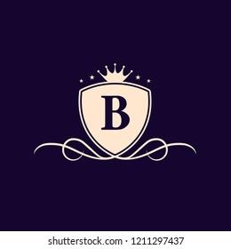 Letter B Shield Flourish Crest Emblem Vector