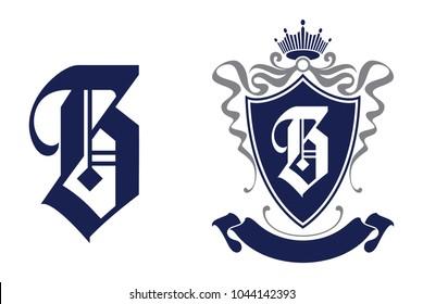 Letter B in shield/crest logo icon. Alphabet logotype vector design template.