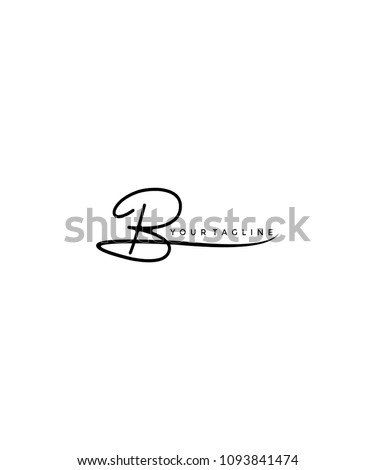 letter b signature logo template