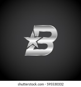 Letter B Star with metallic texture,3d Glossy, metal texture, Silver, steel logotype
