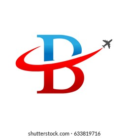 Letter B travel logo icon with Airplane