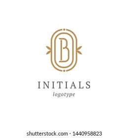 Letter B vector logo. Vintage Insignia and Logotype. Business sign, identity, label, badge initials. Monogram design elements, graceful template. Calligraphic elegant logo design.