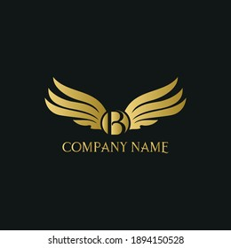 letter B and wings in luxury and elegant golden style logo design