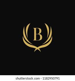 Letter B wings, Luxury gold crest logo design