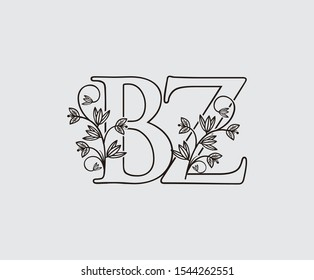 Letter B, Z and BZ Vintage Floral Logo Icon, overlapping monogram with hand drawn flower. Black color Logo on white background. Classy Letter Logo Icon.