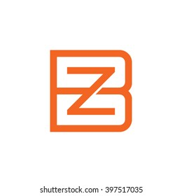 letter B and Z monogram square shape logo orange