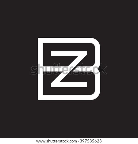 Letter B Z Monogram Square Shape Stock Vector Royalty Free