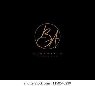 Letter BA Logo Manual Elegant Minimalist Signature Logotype