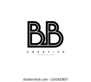 Letter BB Initial LInked Modern Monogram Line Corporate Logo