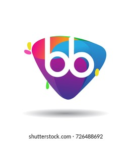 Letter BB logo with colorful splash background, letter combination logo design for creative industry, web, business and company.