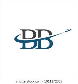 Letter BB travel logo with Airplane