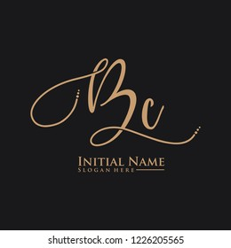 Letter Bc Logo. Initial Letter Design Vector Luxury Colors