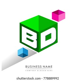 Letter BD logo in hexagon shape and green background, cube logo with letter design for company identity.