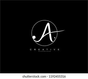 letter A beauty vintage script inside circle line minimal monogram logo