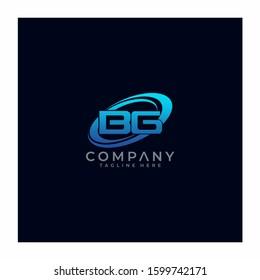 Letter BG Circle Swoosh Logo Design Vector