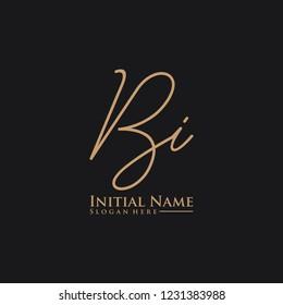 Letter Bi Logo. Initial Letter Design Vector Luxury Colors