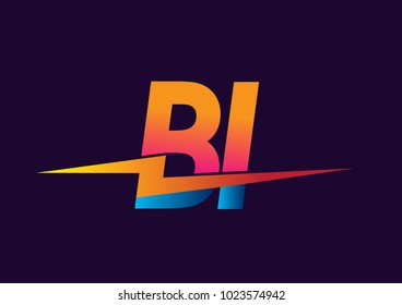 Letter BI logo with Lightning icon, letter combination Power Energy Logo design for Creative Power ideas, web, business and company.
