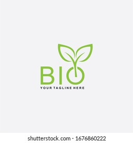 Letter BIO logo design. Plant abstract in letter design. Green leaf illustration symbol. Natural organic vector icon.