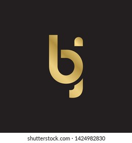 Letter bj linked lowercase logo design template elements. Gold letter Isolated on black  background. Suitable for business, consulting group company.