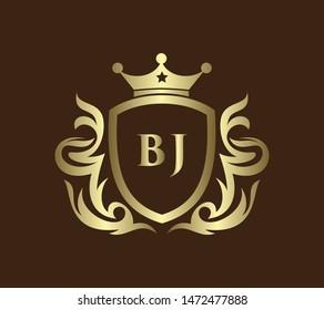 Letter BJ logo template on golden shield background