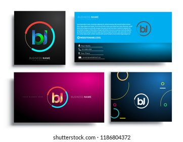 Letter BJ logotype with colorful circle, letter combination logo design with ring, sets of business card for company identity, creative industry, web, isolated on white background.
