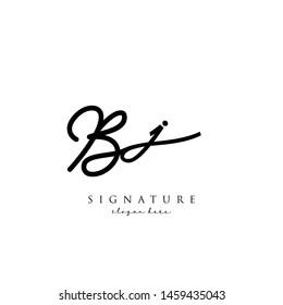 Letter BJ Signature Logo Template - Vector