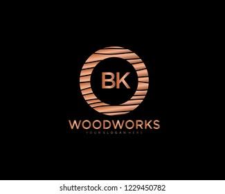 Letter BK initial wood logo vector