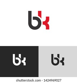 Letter bk linked lowercase logo design template elements. Isolated on white black grey background. Suitable for business, consulting group company.