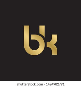 Letter bk linked lowercase logo design template elements. Gold letter Isolated on black  background. Suitable for business, consulting group company.